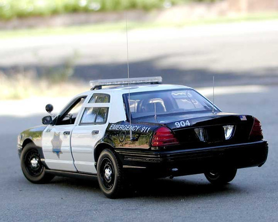 A 1:18 scale rendition of a San Francisco Police Department patrol car. <br /> <br /> One of my hobbies is model building and police cars is one of the subjects I really enjoy. Many of the cars I've built have some background and in this case, it commemorated my frequent visits to San Francisco. There's a lot of research done on each car to create as accurate model as possible, from the exterior markings to antenna size/locations, to the interior.