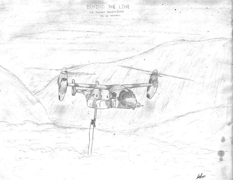 As a student of the evolution of military hardware, the advent of the V-22 Osprey tilt-rotor aircraft was amazing. This drawing was done early in its development stage and the V-22 has recently finally entered operational status with the US Marine Corps and Air Force.