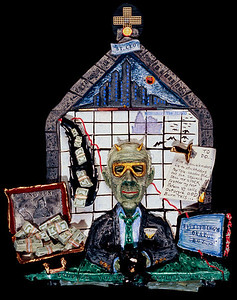 """Stop It, You're Skilling Me""  (Enron's Jeffrey Skilling) (2002)  Mixed media, 23"" x 16"" x 4"" Collection David Shurtz, esq."