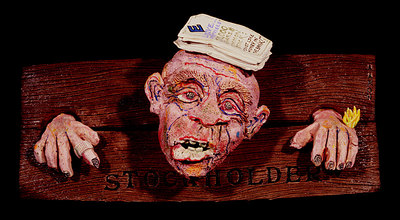 """The Stockholder"" (after ENRON) (2002) Glazed porcelain, mixed media 9"" x 20"" x 7"" Collection of David L. Shurtz, esq."