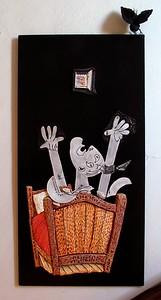 "Wall Sculpture: ""There, There...Did You Have a Nightmare?""  ( 2003 ) Mixed Media, 54"" x 24"" x 3"" Price: $5,000"