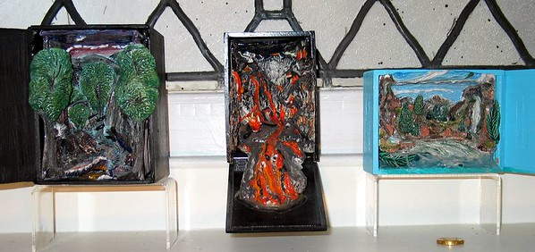 "Cigar Box Triptych: ""Purgatory, Hell and Heaven-after Dante/Dore"" ( 2003-4 ) Mixed Media. Price: $1,500."