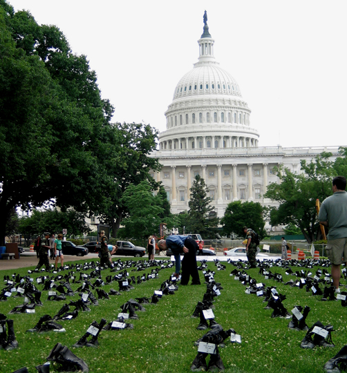 """Andrea Scharnau """"Eyes Wide Open: The Human Cost of War"""" May, 2004; Upper Senate Park DC Scroll"""