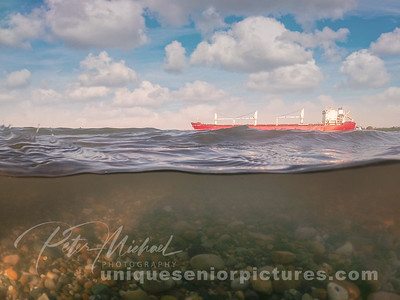 freighter in the water port huron