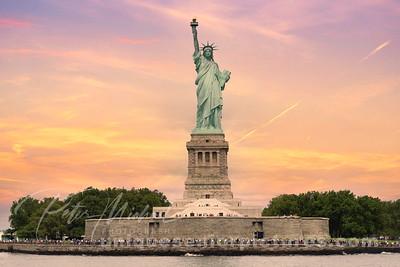 statute of liberty-sunset