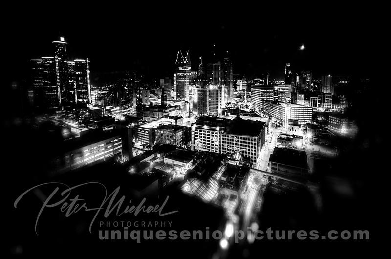detroit skyline night time aerial view