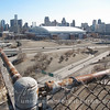 detroit skyline from abandon building , ford field , comerica park