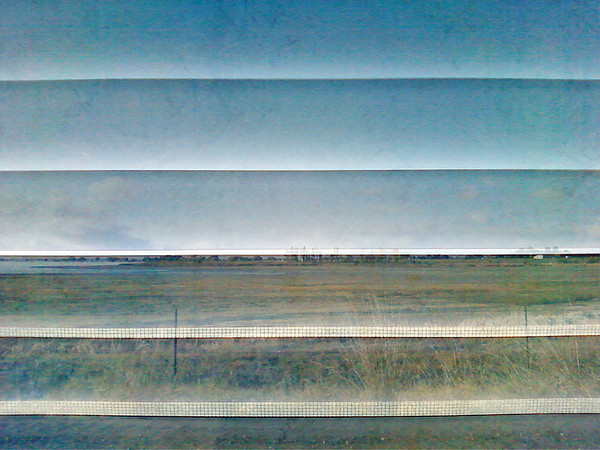 """Union in the Window of My Mind""<br /> <br /> Created with 3 photos -  Union Reservoir, window blinds, and a floor tile."