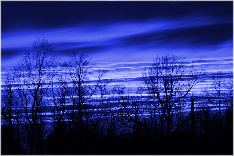 blue sunset art