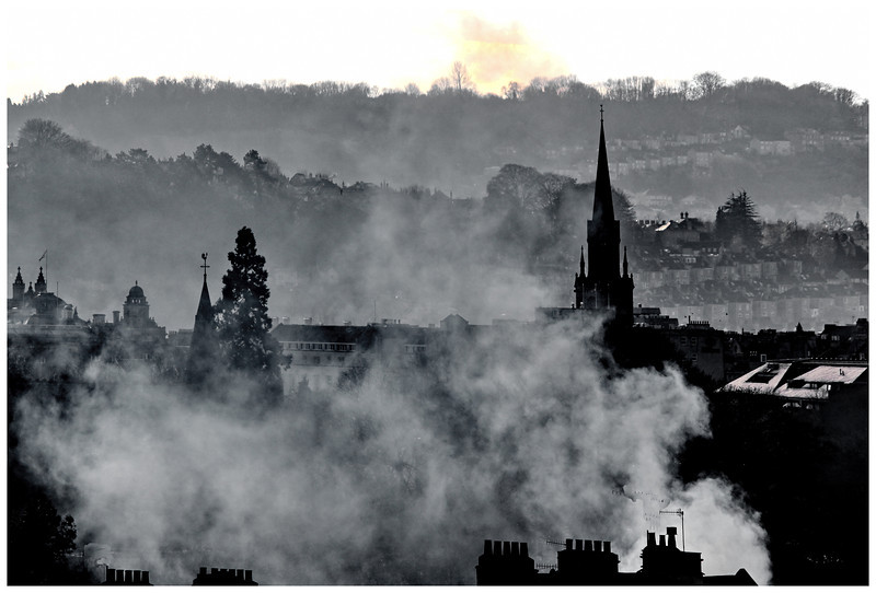 Smoky Panorama of Bath from Lower Camden