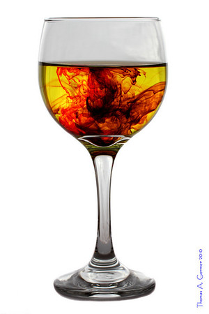 """Mixed Drink XLIV  See the entire series at <a href=""""http://tagermer.smugmug.com/Art/Champagne-Glasses-with-Dye/14438890_JTEzG"""">Mixed Drink and Dye in Water</a>.  For some reason (I presume chromatic aberrations in the eye), when I view this on my monitor, it appears three-dimensional."""