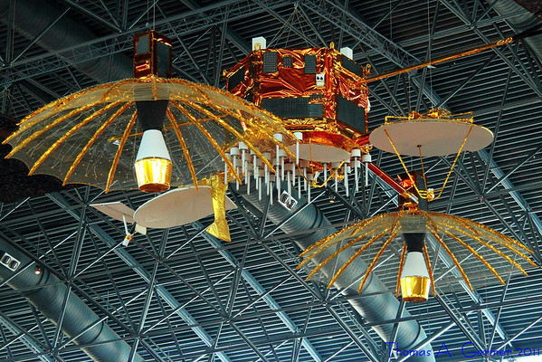 """7/11/2011: Satellites hanging from the ceiling of the Udvar-Hazy Air and Space Museum, Smithsonian Institution, in Dulles, VA.  From the gallery <a href=""""http://www.tagermer.com/Photography/Udvar-Hazy-Smithsonian-July/17967325_qsBBgh"""">Udvar-Hazy Smithsonian July 2011</a>."""
