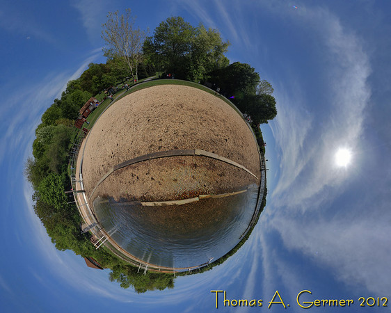 Waterfront at Black Hills Regional Park, Germantown, MD.  HDR Little Planet photo stitched from 42 photographs.<br /> <br /> Daily Photograph 4/31/2012