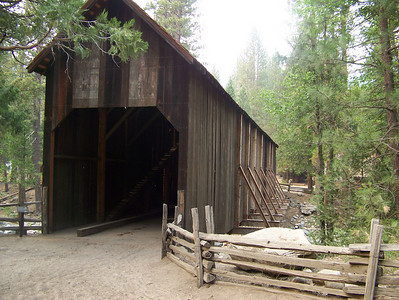 Wawona Bridge.  Next we visited a Pioneer History Park where we learned about the history of Yosemite.  At one time, everyone who visited  Yosemite by horse or stagecoach entered through this covered bridge.
