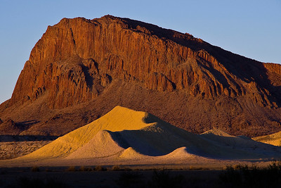 Willow Mountain and bentonite dunes near Study Butte, TX.