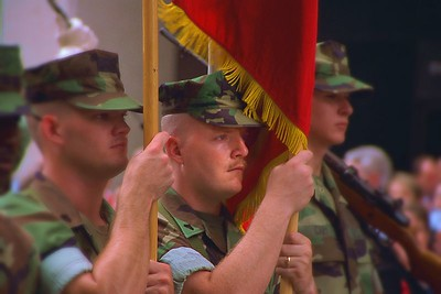 Military color guard at 2000 D-Day parade in New Orleans marking the grand opening of the D-Day museum.