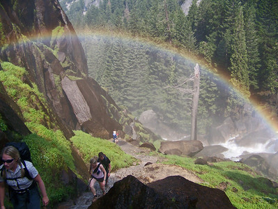 If you are climbing the Mist Trail in the morning, and you look back at where you have come from you get a special treat.  A continuous rainbow that gets better the higher you climb.
