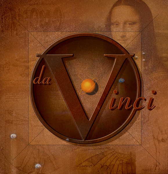 """DaVinci"" is an original work inspired by an article in the June, 2006 edition of Photoshop User Magazine by Daniel Sorenson.  I started with his basic idea and enhanced it somewhat with the semi-transparent background images of selected DaVinci works.  The only photograph used in addition to the background images was a rusty metal texture file.  All graphics, shading, and 3-D effects were created from Photoshop primitives.  All of Leonardo's images were gathered from a brief Google images search."