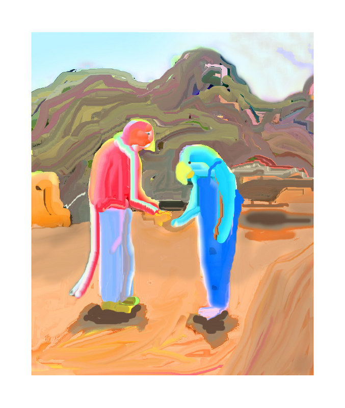 "Clandestine Meeting in the Desert<br /> I started with a not-so-good photo of a couple of friends, kept working at it in Photoshop until I ended up with this.<br /> <br /> You can see the original in the Progressions gallery<br /> <br /> <a href=""http://justsusan.smugmug.com/gallery/1260016"">http://justsusan.smugmug.com/gallery/1260016</a>"