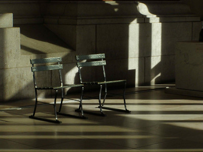 Bench in Gallery, Late Afternoon