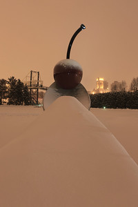 Spoonbridge and Cherry during snowstorm