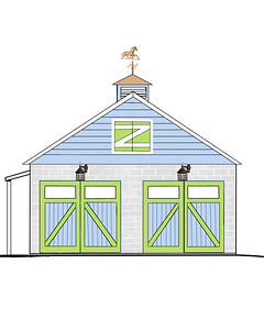 "the original Plan for when I (someday) make over my garage..lol  Update: I did put the blue siding and the two new lanterns on it to match the house but not the doors,  weather vane, ""Z"" door or over hang on the side door as of yet..lol"