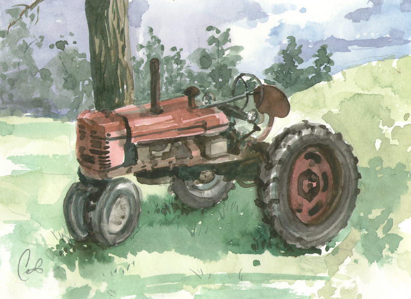 Butler Farm Show - Tractor<br /> <br /> After the rainstorm cleared at the farm show, my friends and I sat down to sketch and paint the farm machinery on display.<br /> <br />  I'm sorry to say I don't have any further information on this particular tractor, other than it made me take a moment to think.  All the food we eat, everyday, someone is planting, harvesting, shipping it to locations near our homes.  It reminded me how much I take for granted. <br /> <br /> How fortunate we really are in this country.<br /> <br /> Medium:  Watercolor on Hot Press Watercolor Paper