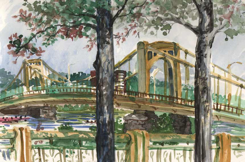 Pittsburgh Sketch/Crawl<br /> Organized by The Pittsburgh Cultural Trust Education Center<br /> Location: Seventh Street Bridge from the River Walk<br /> <br /> This is a quick plein air watercolor painting along the River Walk.  Several rowing teams can be seen emerging from under the Seventh Street Bridge.<br /> <br /> You'll see a lot of people enjoying the sites, walking their dogs or on their way to an event in town.<br /> <br /> Medium:  Watercolor on Hot Press Watercolor Paper