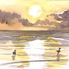 And The Sun Sets<br /> <br /> Golden, peaceful, two fine feathered friends call it a day at a deserted spot at Myrtle Beach.  This painting was one of several watercolor postcards painted of the South Carolina shoreline.  The birds had finally slowed down after a long day of food gathering and were quietly wandering along the beach, stopping now and again to look towards the ocean.<br /> <br /> Medium: Watercolor on Hot Press Watercolor Paper