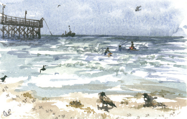Two Birds, A Pier<br /> <br /> I couldn't resist the play on words for the title.  Especially since the seafaring birds are always scampering in and out of view and there's something special about an ocean pier. <br /> <br />  This is one of several watercolor postcards that I painted while on vacation at Myrtle Beach with my sister and two nieces.  If you look into the water you can see them enjoying the waves.<br /> <br /> Medium: Watercolor on Hot Press Watercolor Paper