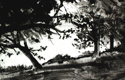 Trees Along The Clarion<br /> <br /> There's something dramatic and yet simple about doing a painting in a single ink color. It has a certain kind of power.<br /> <br /> If you were to visit the Clearcreek State Park you would be greeted with a great deal of trees throughout the park and along the river's edge. When I painted this on site, the sun was extremely strong and the trees were almost completely silhouetted. The river's reflection was brilliantly bright .<br /> <br /> I was captivated by the leaning tree. It stood out, appearing to want to pull away from other perfectly vertical trees nearby. <br /> I had to paint it.<br /> <br /> Medium: Black India Ink on Hot Press Watercolor Paper