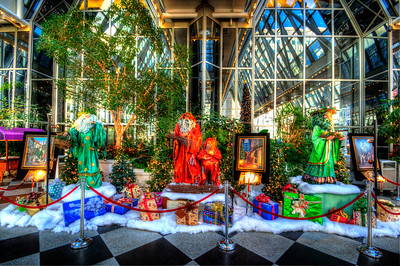 Themed Santa Clauses at PPG Place