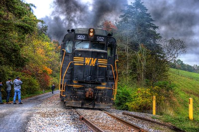 A classic pair of EMD GP 30's push on the rear of the Saturday WMSR excursion to Frostburg.