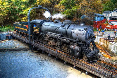 Western Maryland 734 on the turntable at Frostburg
