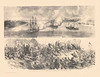 Port Hudson Civil War Sketches<br /> TOP: Bombardment of Port Hudson by Admiral Farragut's Fleet<br /> Bottom: Assault of the 2nd Louisiana Colored Regiment on the Confederate works at Port Hudson, May 27th, 1863.