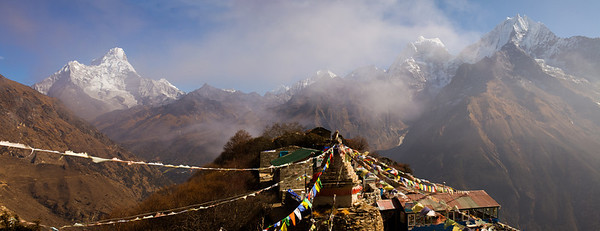 Prayer flags and Ama Dablam, Nepal