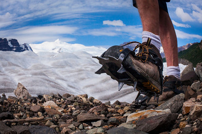 Hiking with crampons on the Rohn Glacier, Wrangel-St. Elias National Park, Alaska.