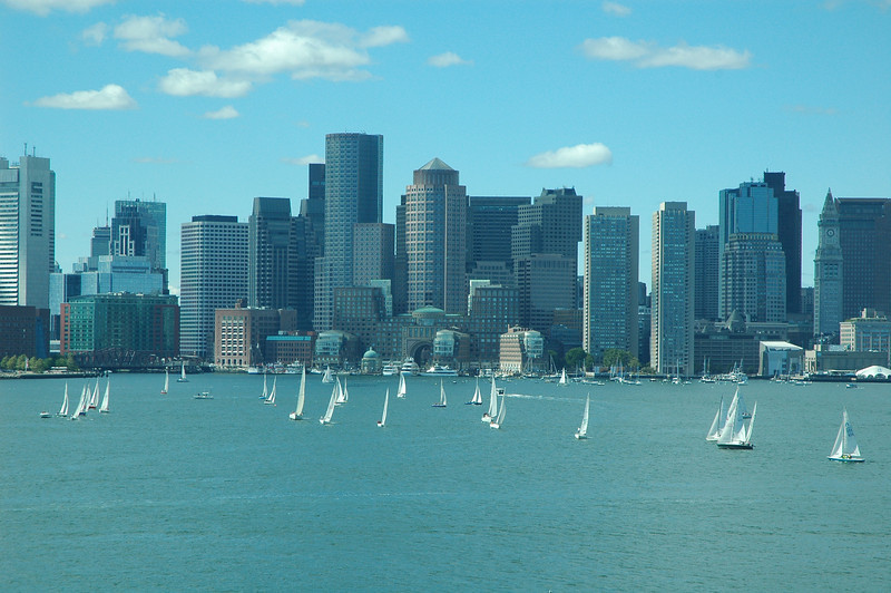 Boston, MA waterfront skyline.