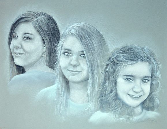 """Commissioned 16""""x20"""" graphite and white pastel on gray paper.  2012"""