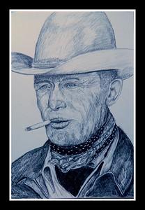 Texas; Cowboy; Clarence; Hailey; Long; 1949.; based; photo; Leonard; McCombe.; 12x15; graphite; pencil; july; 2016.