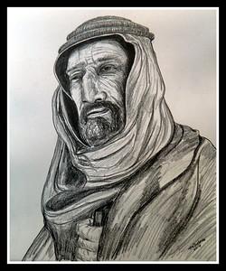 Auda; Ibu; Tayi; leader; Arab; Revolt; 1914; 18.; 14x17; graphite; pencil; aug; 2016.