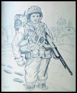 B.A.R.; Combat; Infantryman; 94th; Division; Feb; 1945; Saar; River; Crossing.; 14x17; pencil; completed; 2014