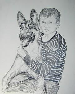 Buddy; and; Duke; 1961; 14x17; graphite; pencil; aug; 2015