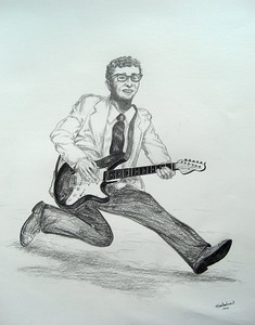 Rave On! Buddy Holly; 1936; 1959.; 14x17; graphite; pencil; may; 2015.