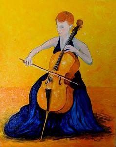 The; Cellist; 16x20; oil; canvas; board; march; 2016