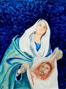 Saint; Veronica; with; Veil; 9x12; gouache; clayboard; march; 2016