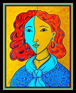 Homage; Matisse; Portrait; Lydia; 16x20; acrylic; canvas; board; sep; 2017.