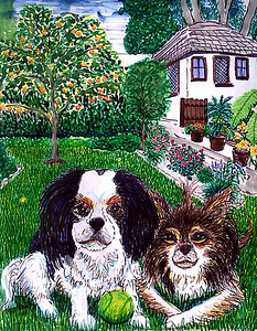 "Beau and Gypsy # 2 Watercolor, ink on paper 22"" x 16"" Private collection, Montecito, CA"