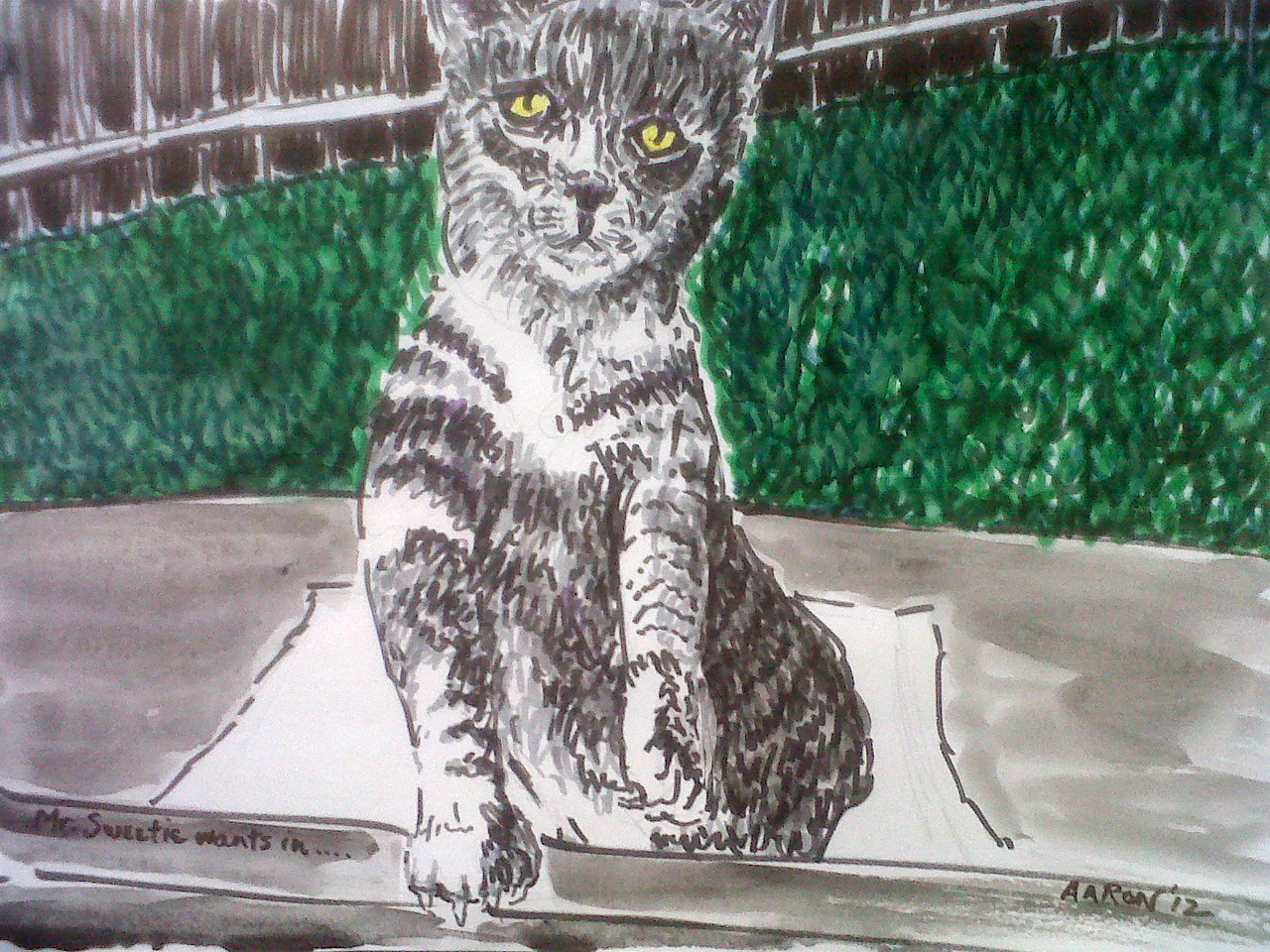 """Mr. Sweetie Wants In... Watercolor, ink on paper 9"""" x 12"""" Private Collection, Ojai, CA"""