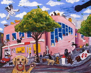 "Unleashed: Pets Unlimited, San Francisco  Oil on canvas, dog hair 16"" x 22"" Collection: Pets Unlimited Veterinary Hospital and Adoption Center, SF"